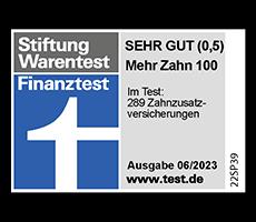 Finanztest Stiftung Warentest-Siegel: Sehr gut für den Tarif Mehr Zahn 100